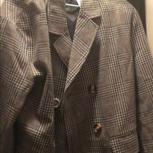 check double breasted wool look coat grey-size12